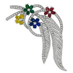 Emerald Ruby Sapphire Diamond Gold Pin Brooch
