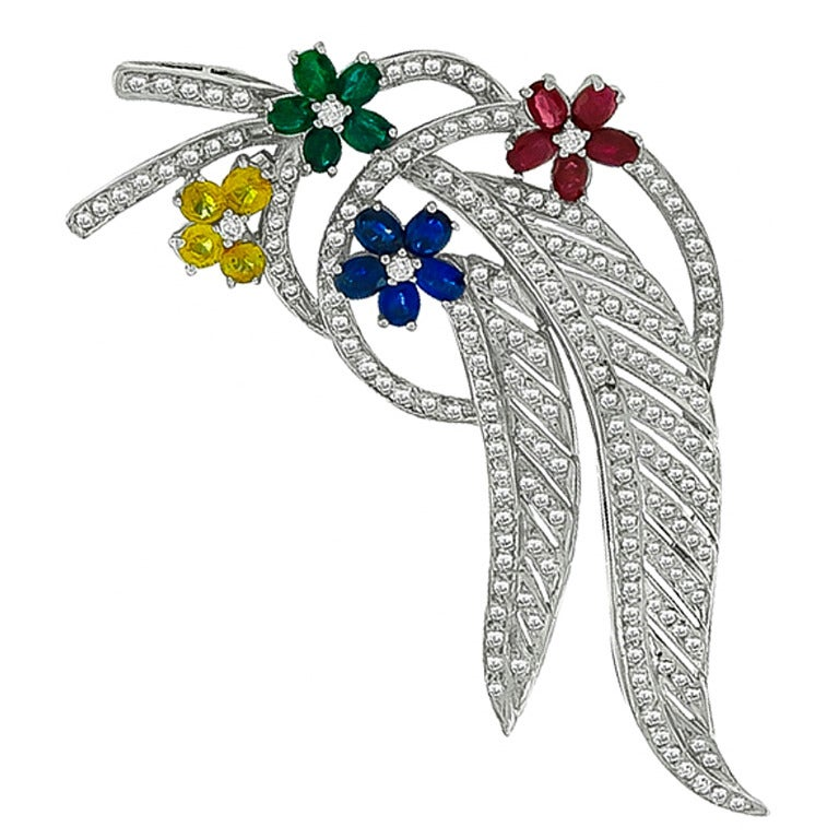 Emerald Ruby Sapphire Diamond Gold Pin Brooch For Sale
