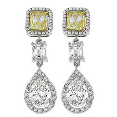 Natural Fancy Diamond GIA Certified 3.43 Carat Pear Shaped Diamond Gold Earrings