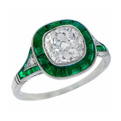 2.08 Carat Old Mine Cut Diamond Emerald Platinum Engagement Ring