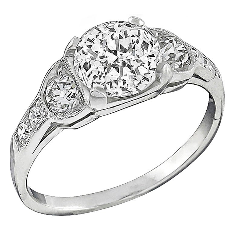 2.02 Carat GIA Jubilee Cut Diamond Platinum Engagement Ring