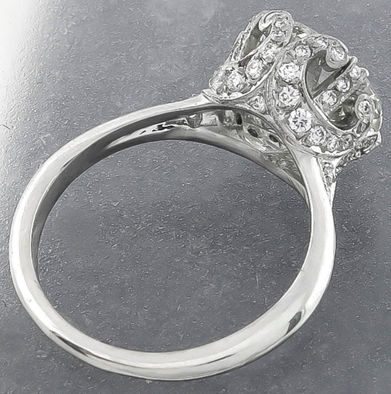 Edwardian Antique GIA Certified 3.11ct Diamond Engagement Ring For Sale