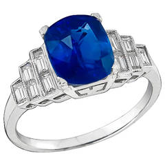 2.98 Carat GIA Cert Natural No Heat Sapphire Diamond Gold Engagement Ring