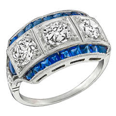Art Deco Old Mine Cut Diamond Sapphire Ring