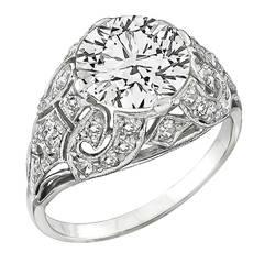 Art Deco Old European Cut Diamond Gold Engagement Ring