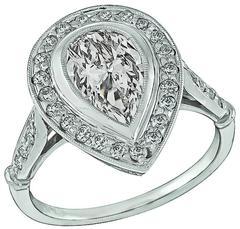 1.08 Carat GIA Cert Pear Shape Diamond Platinum Halo Engagement Ring