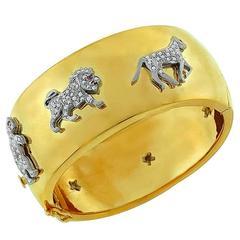 Diamond Gold Charm Bangle Bracelet