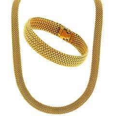 Tiffany & Co. Gold Weave Bracelet and Necklace Set