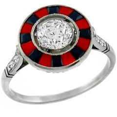 .64 Carat GIA Cert Diamond Coral Onyx Platinum Engagement Ring