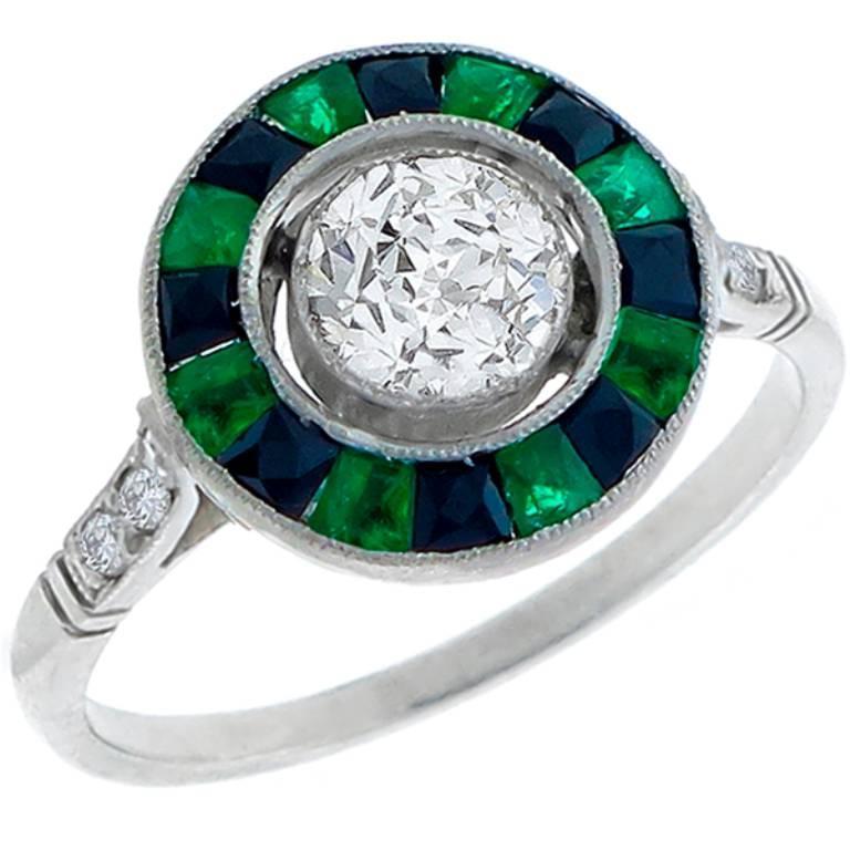 Enticing .64 Carat GIA Certified Diamond Emerald Onyx Platinum Engagement Ring