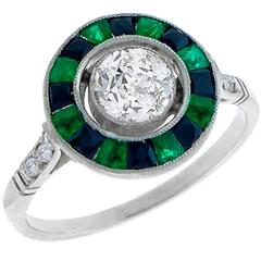 Enticing .64 Carat GIA Certified Diamond Emerald Onyx Platinum Engagement Ring