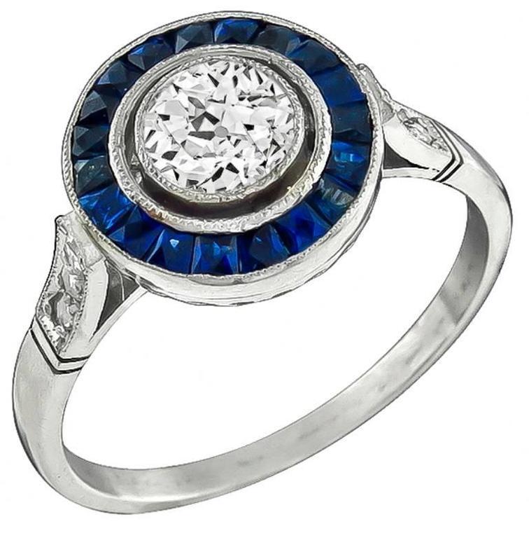 0.62 Carat GIA Cert Diamond Sapphire Halo Platinum Engagement Ring