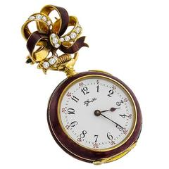 Tiffany & Co. Yellow Gold Diamond Enamel Lapel Pendant Pocket Watch