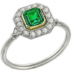 Art Deco 0.41 Carat Emerald Diamond Gold Platinum Engagement Ring