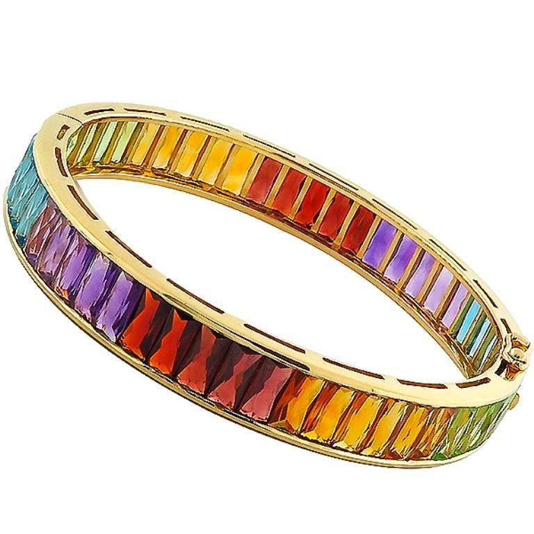 Multi Colored Semi Precious Stones Gold Bangle Bracelet For