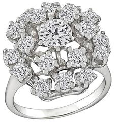 Charming Diamond White Gold Cluster Ring