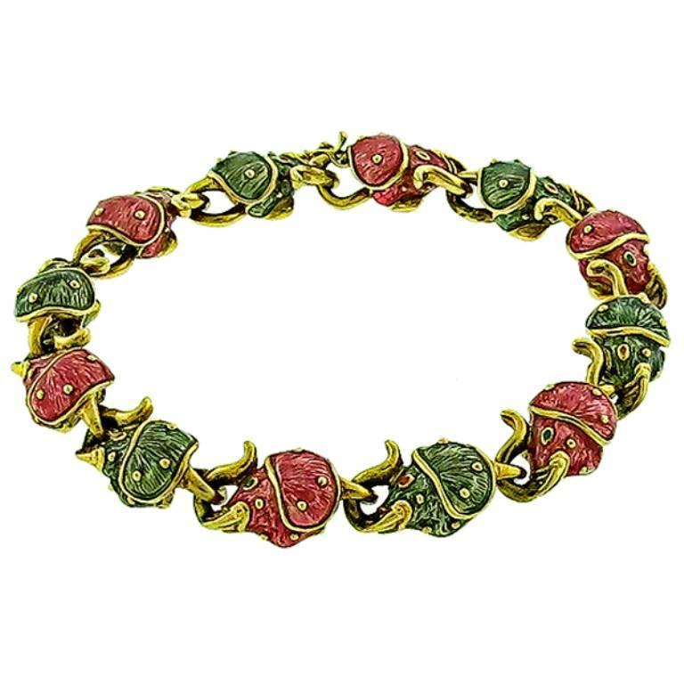 Hidalgo Yellow Gold Enamel Elephant Chain Bracelet