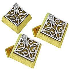 Henry Dunay Diamond Gold Cufflinks and Tie Pin Set