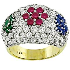 Diamond Ruby Emerald Sapphire Gold Cluster Ring