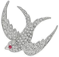 Edwardian Diamond Platinum Bird Pin Brooch