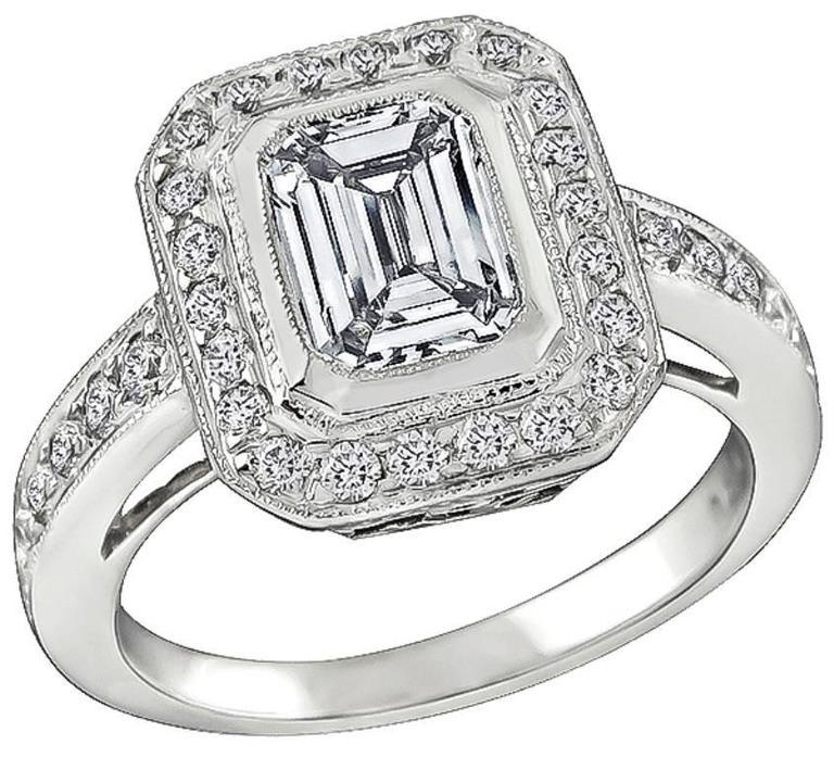 GIA 1.01 Carat Diamond Engagement Ring and Wedding Band Set