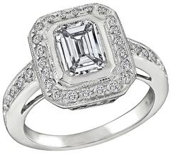 GIA 1.01 Carat Diamond Engagement Ring and Wedding Band Set