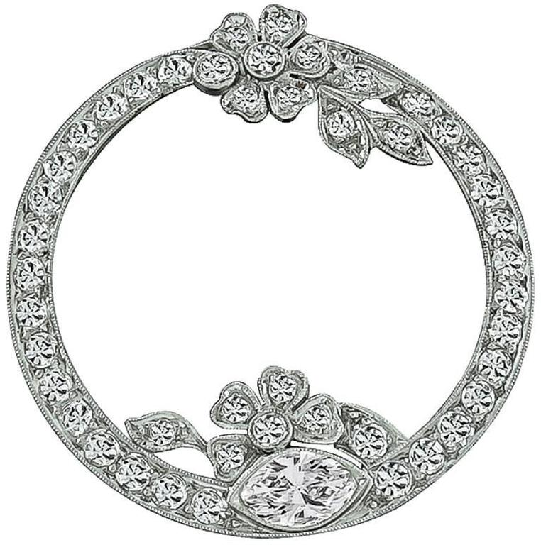 Art Deco Round Diamond Platinum Pin Brooch