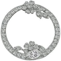 Art Deco Round Diamond Platinum Pin Brooch