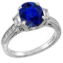 Antique 2.30 Carat Oval Cut Sapphire Diamond Platinum Ring