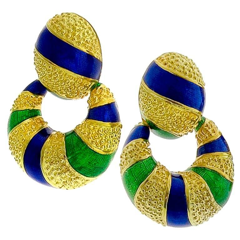 Stunning Yellow Gold Enamel Doorknocker Earrings