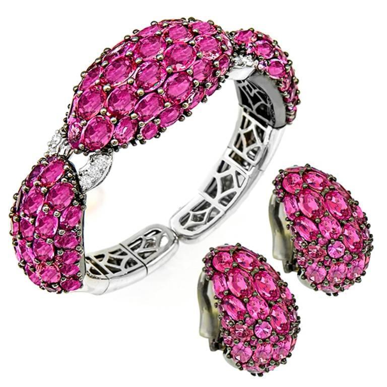 Beautiful Pink Sapphire Diamond Bangle and Earrings Suite