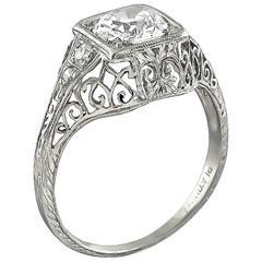 Edwardian GIA 1.00 Carat Diamond Platinum Engagement Ring