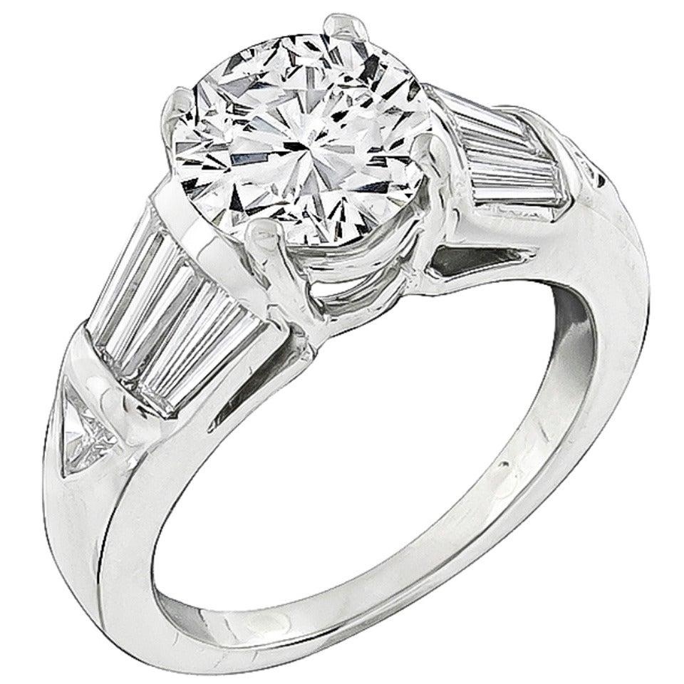 2.02 Carat Diamond Platinum Engagement Ring