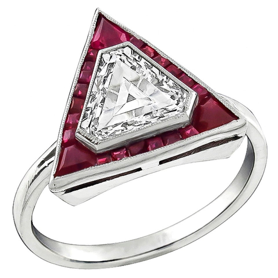 117 Carat Shield Cut Diamond Ruby Platinum Engagement Ring 1