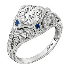 Art Deco 1.05 Carat GIA Cert Diamond Platinum Engagement Ring