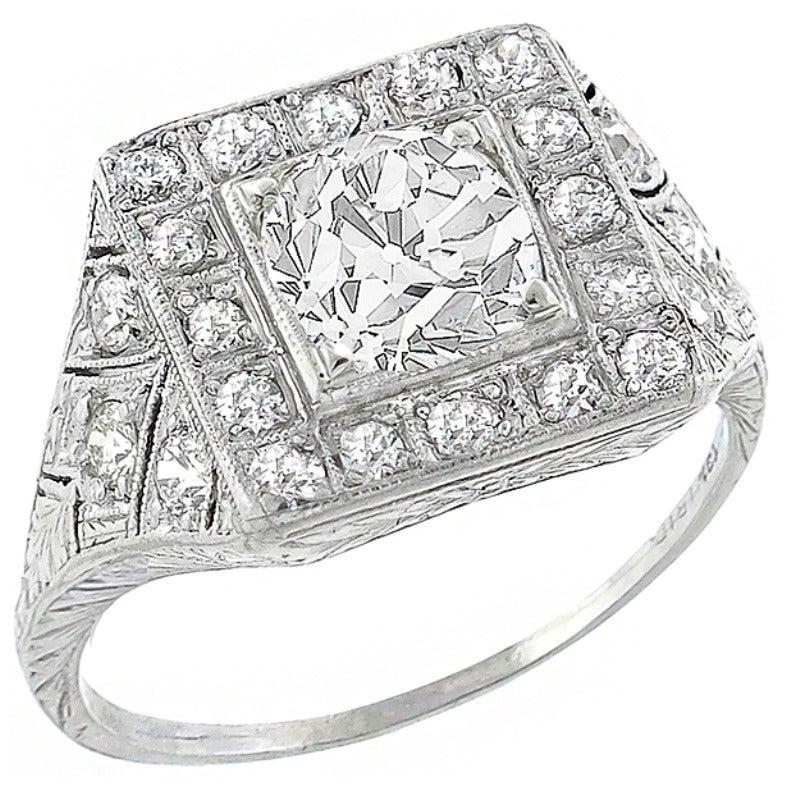 Art Deco 1.24 Carat GIA Cert Old Mine Cut Diamond Platinum  Ring