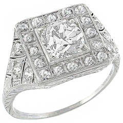 Art Deco 1.24 Carat GIA Cert Old Mine Cut Diamond Platinum  Ring