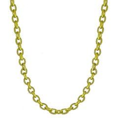 Judith Ripka Diamond 18 Karat Yellow Gold Chain Link Necklace