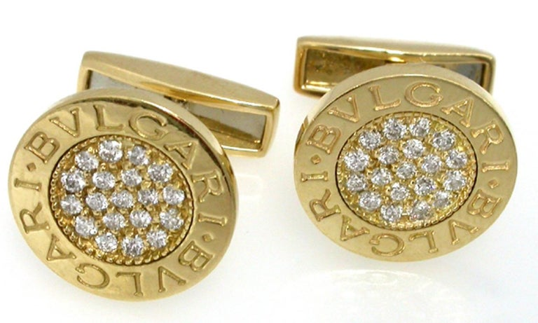 Round Cut Bulgari Diamond Gold Cufflinks For Sale