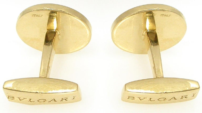 Bulgari Diamond Gold Cufflinks In Good Condition For Sale In New York, NY