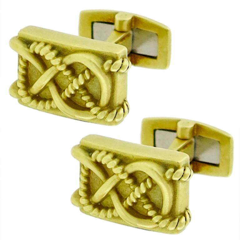 Barry Kieselstein Cord Gold Cufflinks For Sale