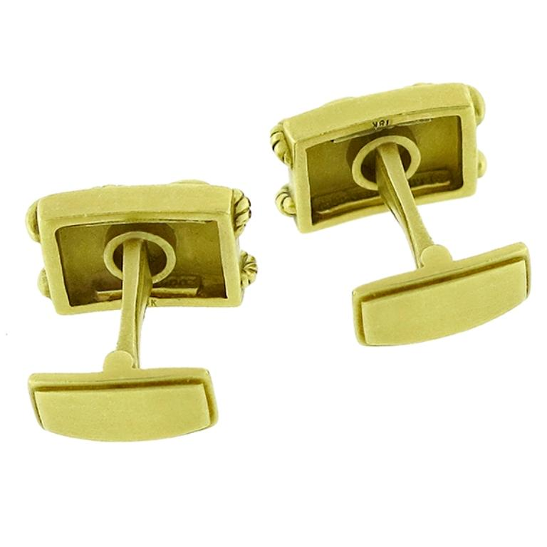 The cufflinks are made of 18k yellow gold. They measure 11.5mm by 19mm and weighs 26.8 grams. It is signed B Kieselstein-CORD 18k.   Inventory #19258PPSS
