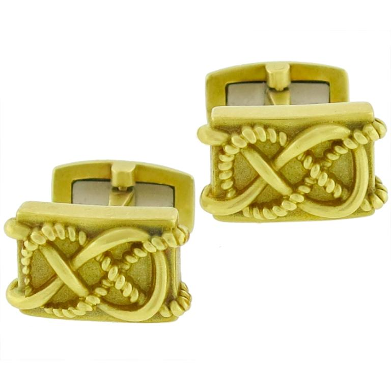 Barry Kieselstein Cord Gold Cufflinks In Good Condition For Sale In New York, NY