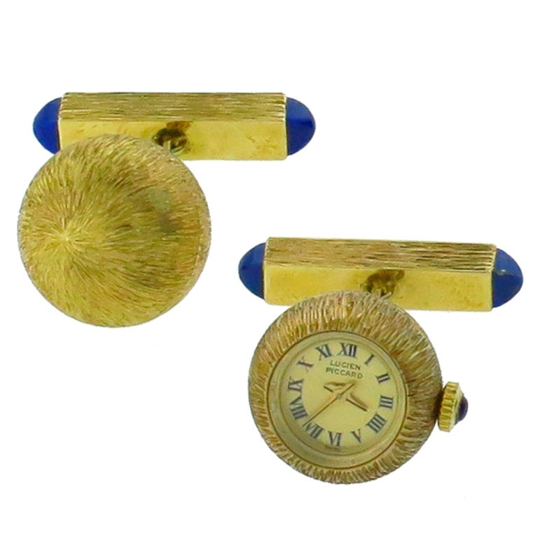 Lucien Piccard Lapis Sapphire Gold Watch Cufflinks