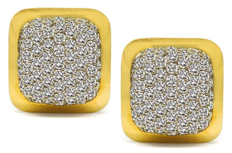 Round Cut 6.00 Carat Diamond Gold Earrings For Sale