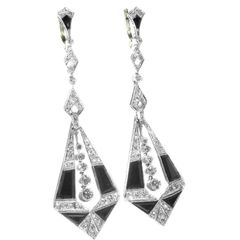 Onyx Diamond Platinum Chandelier Earrings 4