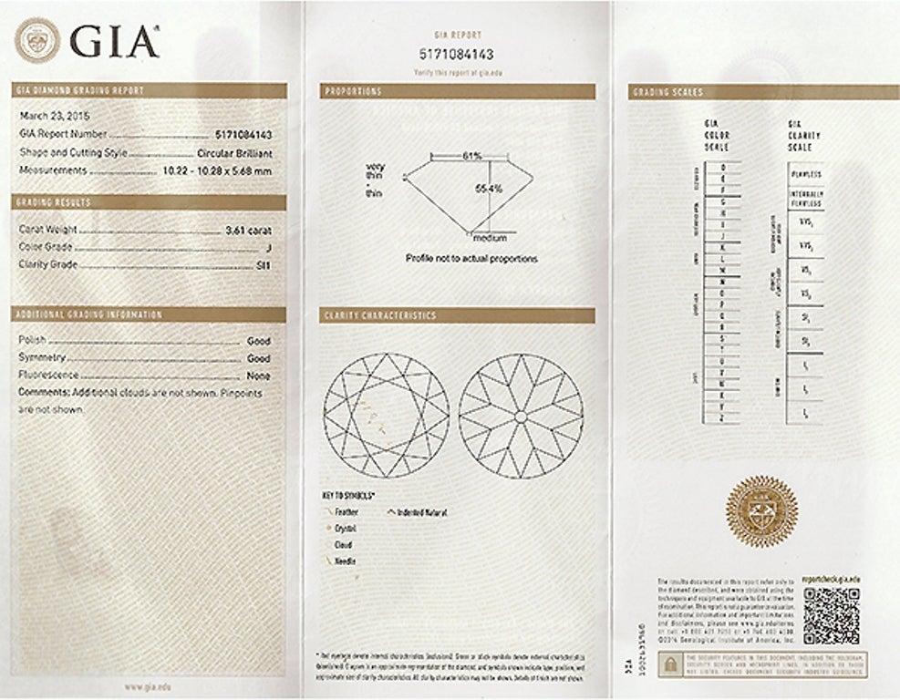 Round Cut 3.61 Carat GIA Cert Diamond Platinum Engagement Ring For Sale