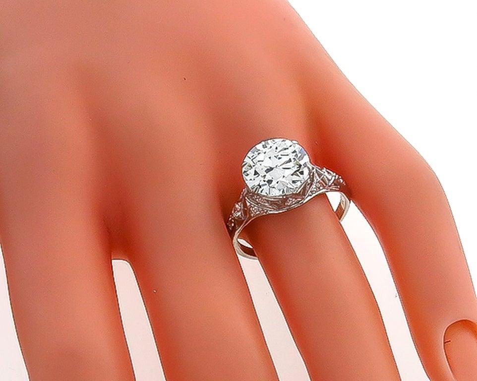 Edwardian 3.61 Carat GIA Cert Diamond Platinum Engagement Ring For Sale