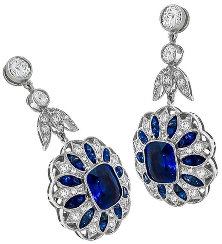 Sapphire Diamond Gold Drop Earrings 3