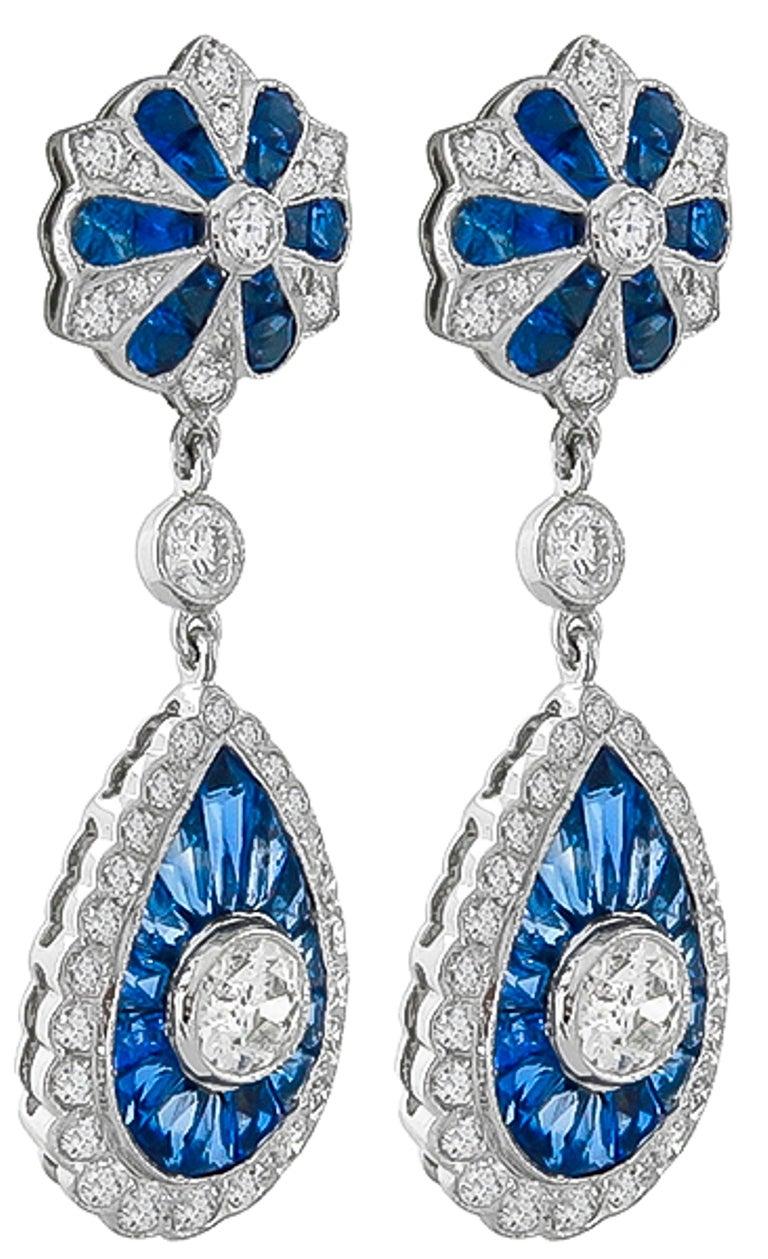 Sapphire Diamond Gold Drop Earrings 2